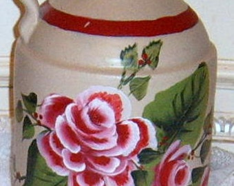 Painted , Pottery Jug, Painted Roses, Shabby Chic, Roses,  Crock Jug, Vase,