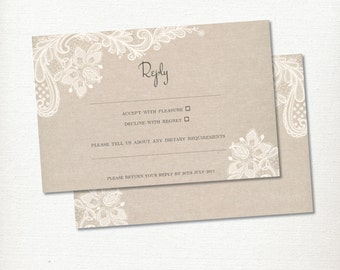 Wedding Invitation, Lace & Linen, RSVP Reply card, Vintage, Rustic and Romantic Printable, Digital file