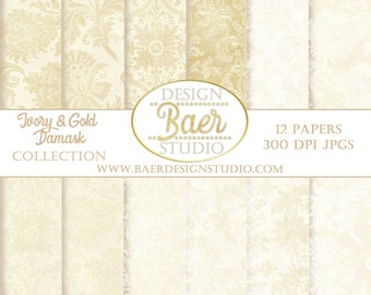 IVORY DIGITAL PAPER: Wedding Digital Paper, Digital Paper Vintage, Ivory and Gold Damask Digital Paper, Digital Paper Pack, #13025