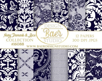 BLUE DIGITAL PAPER:Navy Lace Digital Paper, Wedding Digital Paper, Blue Damask Digital Scrapbook Paper, Navy Digital Paper, Hochzeit, #16088