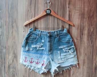 Nautical Anchor Denim Shorts Hand Painted Vintage Distressed High Waisted Waves Ocean USA Denim