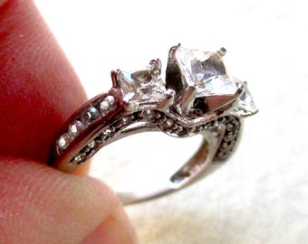 Sterling Silver CZ Engagement Ring, Size 5