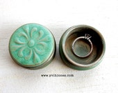 Small Green Ring Pill Box Hand Painted Wooden Jewelry Keepsake Valentines Day Anniversary Unique Gift Abstract Mandala Design Pottery