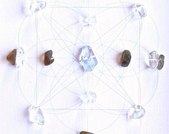 DIVINE GUIDANCE--- framed crystal grid with sacred geometry --- aquamarine, labradorite, clear quartz