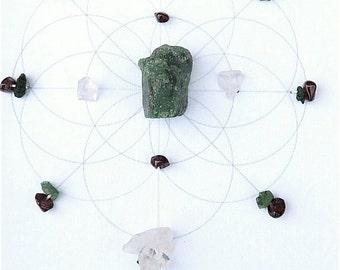 A LOVE STORY --- framed sacred crystal grid -- ruby zoisite, garnet, rose quartz, emerald --- seed of life