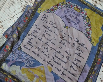 Silk Mother's Day Scarf by April Cornell/Vintage 1990s/Long Silk Scarf With Inspirational Poem for Mothers