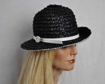 Mod Black and White Straw Bucket Hat/Vintage 1960s/Patent Leather Trim/Adolpho II/Retro Chic Summer Hat