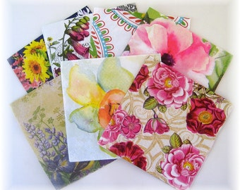 7 Beautiful Napkins for Collage, Scrapbooking, Decoupage, No Duplicates, includes Free Tutorial