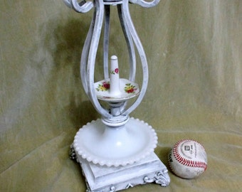 Shabby Chic decor Jewelry box holder display one of a kind  antique lamp parts milk glass metal ornate