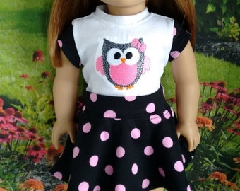 Trendy Skater Skirt and Owl Top for 18 Inch Dolls Such as American Girl