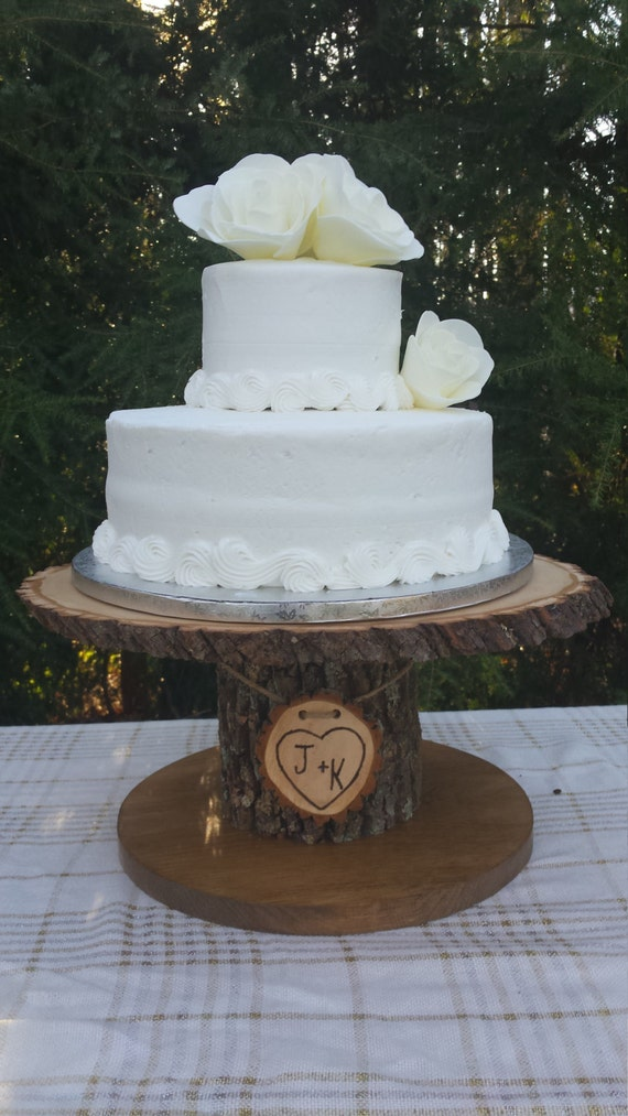 wedding cake wood wood cupcake stand personalized cake stand log cake stand 26987