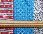 Vintage Lot Red & Blue FLORAL FABRICS Cotton 3 pcs Total 3 1/2 yds Craft Sew Quilt