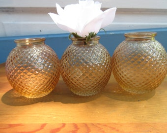 Beautiful Set of Three Amber Candle Lights/Fall Amber Candle Holders/Thanksgiving Candles