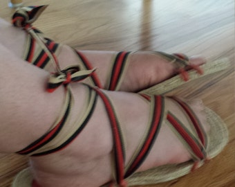 vintage style lace up sandals
