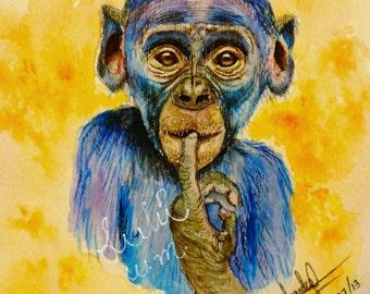 beautiful,colorful, chimp, painting, water color, printing