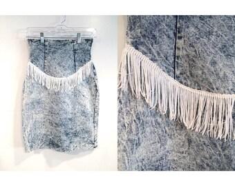 Vintage Acid Wash and Fringe High Waist Pencil Skirt