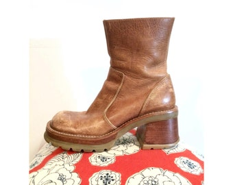 Funky Platform Caramel Brown Leather Boots Size 7.5 - 8
