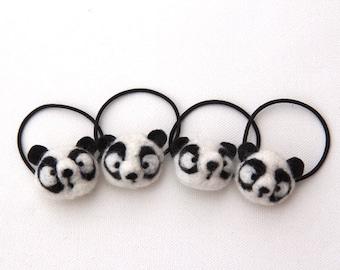 Panda Bear Hair Tie Cute Felted Wool Bobble Elastic Loop For Ponytail