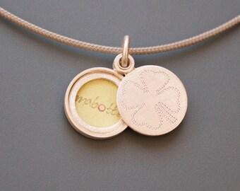 Picture-locket sterling silver, silver locket, lucky charm,handmade locket, clover leaf