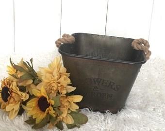 Rustic garden bucket for newborn photography prop, perfect for indoor/outdoor, 'flowers & garden' distressed metal bin, RTS SMALL size