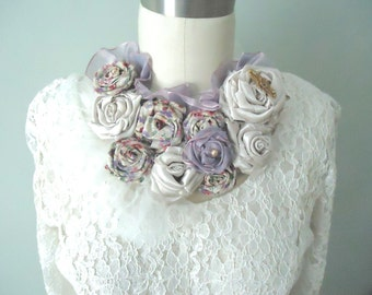 Boho Wedding Lavender Neck Piece, Shades of Purple Flower Bib Statement Necklace, Shabby Chic Mori Girl Fun Fabric Necklace, Eco Friendly