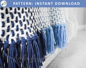 Little Boy Blue! Crochet ombre baby blanket - modern plaid afghan, easy pattern available for instant PDF download