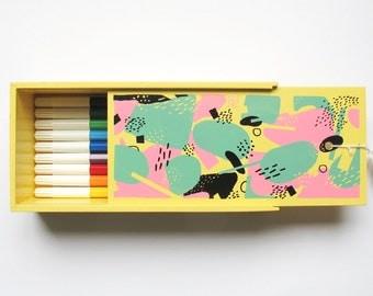 VIRUS - white slide top lid pencil box