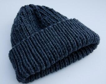 Ribbed gray beanie, slouchy beanie, knit gray hat, gray slouchy hat, gray knit hat, knit gray beanie, chunky knit hat, chunky knit beanie