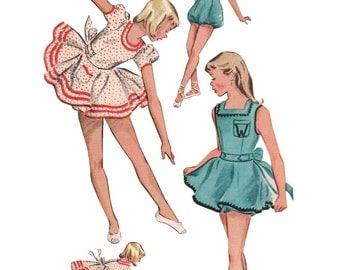 McCalls 1785 Vintage 1950s Sewing Pattern Girls Two Piece Dance Costumes Capezio Dance Ballerina Skate Costume Twirl Skirt Bloomers Romper