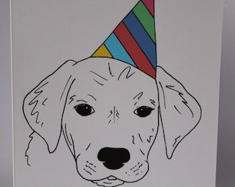 Animal Birthday Card - Puppy - Hand drawn and printed in the UK