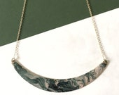 NEW Marbled Brass Collar Bib Necklace, 14k Goldfilled, Gifts for Her