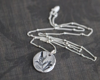 Botanical Charm Necklace, Sterling Silver, Pendant, Floral, Charm Necklace, 18 Inch, Satellite Chain, Minimalist, Layering, Boho, Rustic