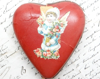 1800's German Candy Container, Heart Shaped Box for Christmas, Embossed Dresden Scraps, Angel