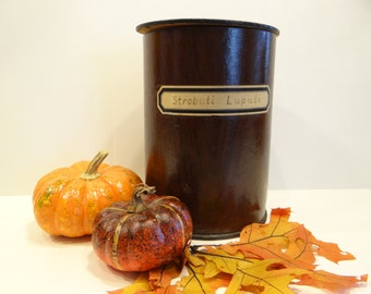 1920's Large 9 inch Apothecary Pharmacy Antique Canister, Labeled STROBALI LUPULI
