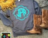Quatrefoil Monogrammed Sweatshirt Personalized Sweatshirt Monogram Sweatshirt