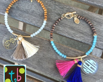 Monogrammed Personalized Tassel Bead Bracelet
