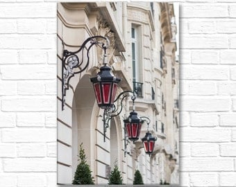 Paris Photograph on Canvas - Red Lanterns (vertical) on  Paris Architecture,  Gallery Wrapped Canvas, French Home Decor, Large Wall Art