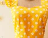 Yellow Vintage Style Casual Dress 50's Inspired Polka Dot Dress Women Short Cotton Dress Yellow Dancing Swing Dress Party Dress-XS-XL,Custom