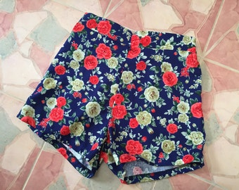 "Floral High Waist Shorts Navy Red Rose Summer Shorts - Free Size Waist 26""-28"", Hip 35""-37"""