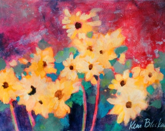 """Abstract Floral Painting, Colorful Original Acrylics on Paper, """"Magical Sunflowers"""" 12x16"""""""