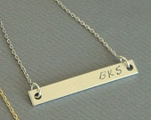Silver Bar Name Initial Necklace