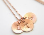 Rose Gold Initial Necklace - Choose Up to 4 Disc Pendants