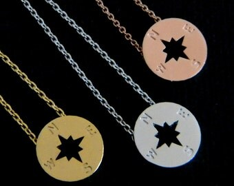 Gold, Silver or Rose Gold  Compass Necklace