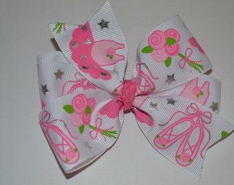 Ballerina Hair Bow Princess Pink Ballet Slippers