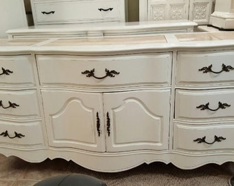 Curvy French dresser with marble inlay distressed dresser shabby chic dresser credenza