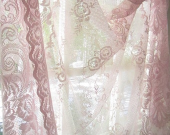 Curtain panel pale pink  lace  curtain panel with flowers curtain panel  victorian romantic shabby chic prairie cottage chic