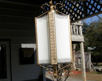 Two Vintage 1950s  Hanging Lights - Brass colored Stamped Tin with Curved Panel Glass