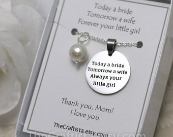 Mother of the Bride Pearl Necklace -MOB4- Mother of the Bride Gift, Authentic Shell Pearl Pendant, Mother of the Bride Jewelry, Mom Keepsake