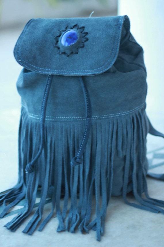 FRINGE RUCKSACK - Vintage Backpack- Aztec Bag- Tassel bag- Fringe Bag- Festival Rucksack- Boho- Leather Bag-Suede backpack- Suede Fringe bag