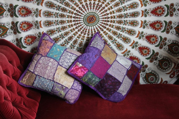 PURPLE SCATTER CUSHION- Indian Cushion- Sari Fabric- Vintage Pillow- Ethnic cushion- Bohemian Decor- Homeware- Bedding- Hippie Accessories